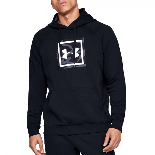 UNDER ARMOUR  RIVAL FLEECE PRINTED HOODIE ΜΑΥΡΟ
